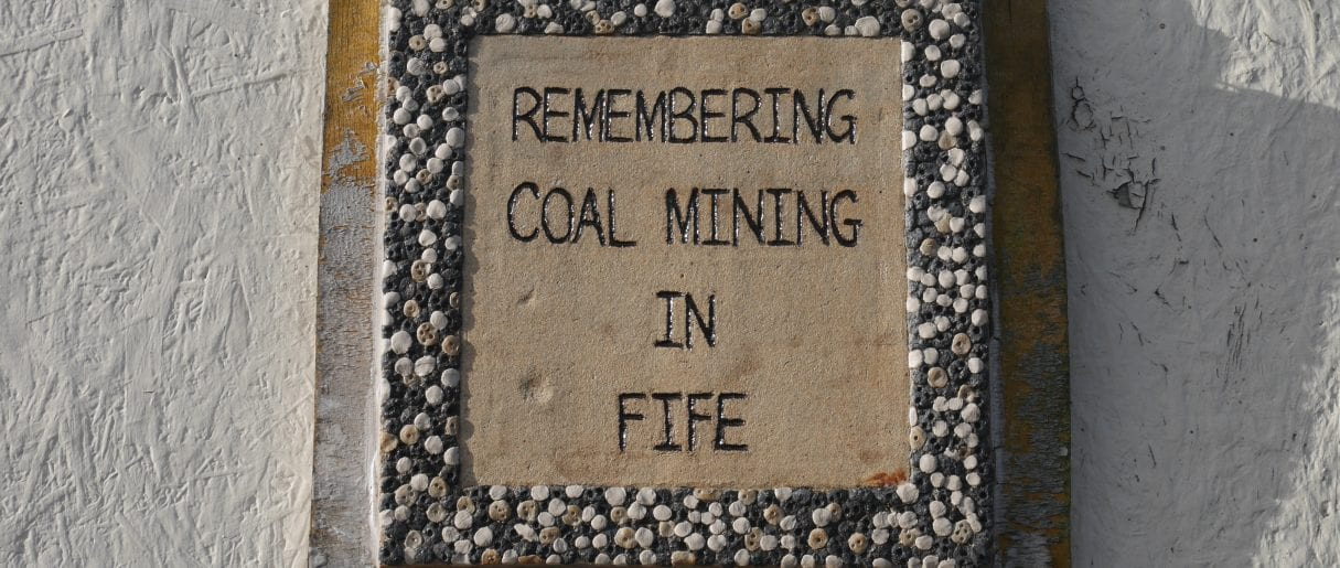 Kirkcaldy - Plaque reads 'Remembering Coal Mining in Fife'